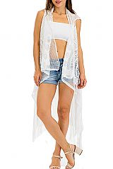 Over Sized Circular Laser Cut Lace and Dangling Fringed Sleeveless Kimono Vest