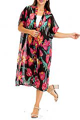 Blossomed Pink Tulips Cover Up Long Sheer Kimono