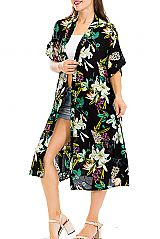 White Magnolia with Scenic Leaves Long Breezy Cover up Kimono