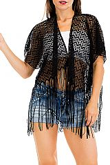Modern Chevron Cropped and Laser Cut Cover Up Kimono