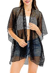 Large Fishnet Lace Cover Up Kimono with Adjustable Suede Tie String