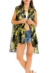 Abstract and Geometric Pattern Printed Semi Sheer Kimono Vest