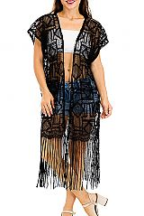 Diamond-In-A-Square and Geometric Patterned Crochet Knit Short Sleeved Kimono with Long Fringes