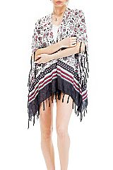 Blossomed Mandala Style Floral Print Cover Up Kimono with Boho Bead Trim