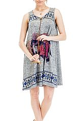 Ethnic Elephant Pattern Printed and Heather Colored Romper with Adjustable Feathered String