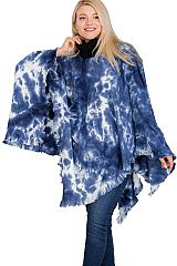 Hipster Gypsy  acid Tie-Dye Pattern Turtle Neck Softness Knitted  Fringe Poncho