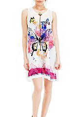Watercolor Paint Stain and Butterfly Printed and Geometric Patterned Semi Sheer Romper