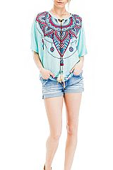 Tribal Patterned and Feather Stringed Semi Sheer Kimono Top