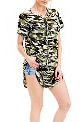 Military Look Camouflage Design Top Shirt