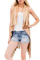 Plain Suede Cropped Long Sleeveless Cardigan with Fringes