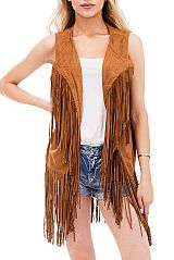 Plain Suede Cropped Long Vest with Fringes