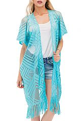 Geometric Maze Laser cut Long Styled Kimono Cover Up