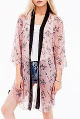 Checked Floral Cool Touch Classic Kimono Long Sleeve Long Breezy Cover Up