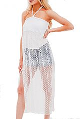 Halter Tube Top Long Fishnet Pattern Lace Cover Up
