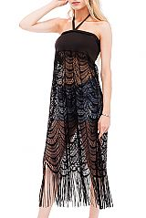 Luxury Laced Knit Long Tube Top Halter Cover Up