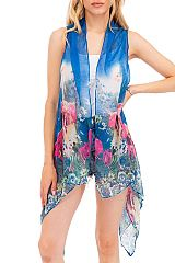 Elephant and Zebra Natural Design Super Softness Semi Sheer Sleeveless Vest Kimono