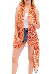 Solid Color Circle All Print Semi Sheer Long Vest