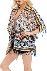 One With The Earth Boho Shaggy Printed Sheer Light Kimono Cover -Up
