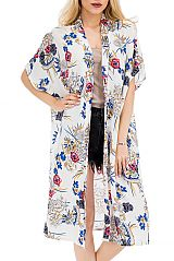 Extra Long Fall Japanese Floral Printed Cover Up Kimono