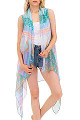 Doodle Wave And Colorful Scribble Printed Softness Kimono Vest