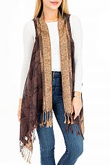 Custom Luxurious Bohemian Leaves Silky Pashmina Made To Order Vest