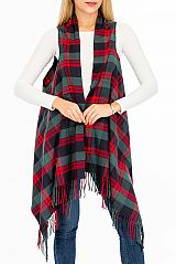 Colorful Multi Plaid Line Vest Cardigan