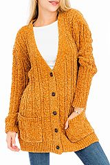 Boho Corduroy Button Down Braid Knit Cardigan Sweater
