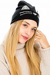 Blinged Kitty Cat Ear Cuffed Beanies
