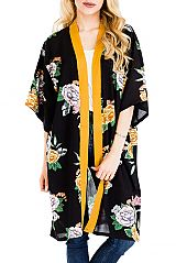 Peonies All-Print Semi Sheer Long Cover Up Kimono with Stripe Lining