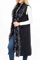 Luxurious Multi Tone Fur Trimmed Over Draped Vest Poncho