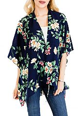 Hibiscus Flower and Leaves All Print Blouse Styled Cover Up Kimono Top with Self Tie String