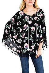Hibiscus Flower All Print Throw Over Cape with Self Tie String and Tassel Ends