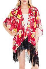 Ornate Tropical Flowers chiffon Sheer Mid Length Fringe cover Up