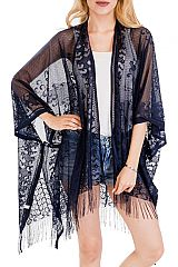 Vineyard Half Heart Luxury Lace Detailed Thin Fringed Cover Up
