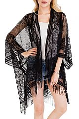 Large Floral Laser Cut Laced Made Large Cover Up Kimono