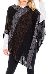 Thick & Extra Soft Cashmere Feel V-Neck Fringed Throw Over Poncho with Tinsel Accent