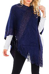 Thick & Extra Soft Cashmere Feel V-Neck Fringed Poncho with Tinsel Accent