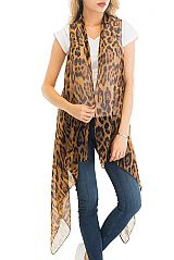 Leopard Printed Semi Sheer Cover Up Frayed Vest