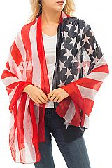 American Flag Patriotic Red White And Blue Scarves