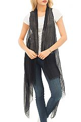 Plain Colored and Distressed Semi-Sheer Viscose Kimono Styled Long Vest