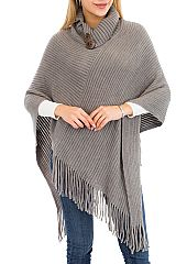 Plain Striped Soft with Big Button Design fringe Poncho