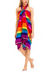 Cooling Cotton Rainbow Stripe Color Dyed Oversize Wrap Scarf