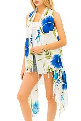 Luxury Soft Over Sized Tropical Blossomed Hibiscus Cover Up Vest