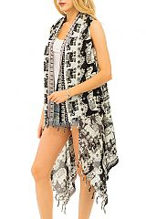 Lucky Elephant Boho Chic Trendy Vibes Over Sized Cover Up Vest