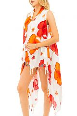 Summer Vibrant Blossomed Hibiscus Cover Up Vest