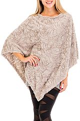 Rose Fur Brush Embossed Pearl Accented V Styled Poncho