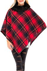 Classic Tartan Plaid Luxe Fur Trimmed V Silhouette Poncho