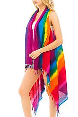 Rainbow Stripe color Dyed Oversize Cover Up Vest