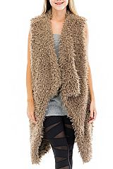 Symmetrical Plush Faux Fur Luxury Vest