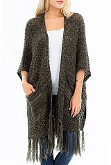 Pocketed Side Boho Bone Button Open Poncho